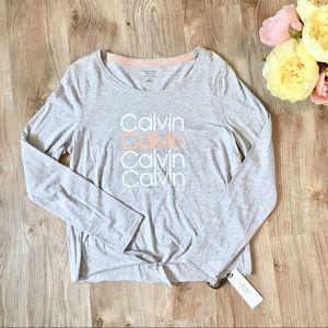 NWT Calvin Klein Grey Workout Longsleeve Shirt